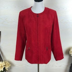 Kim Rogers Red Faux Suede Zippered Blazer Jacket
